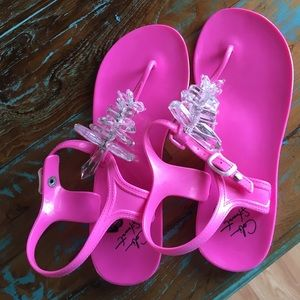 Hot pink Colin Stuart jelly sandals